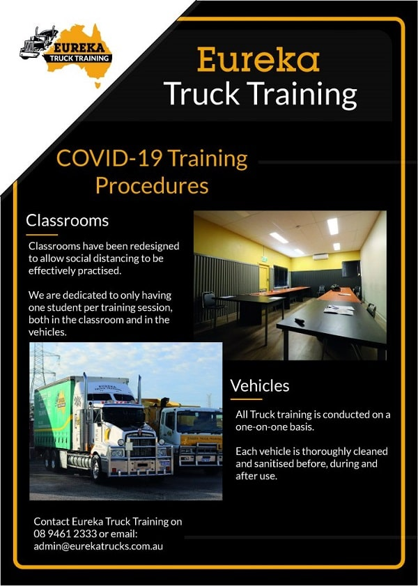 Eureka's Truck Training notice and procedures of COVID-19 and as one of the image of the 'covid-19 training procedures' blog.
