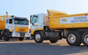 2 Eureka trucks parked and facing each other and as the featured image of the 'roundabouts' blog.